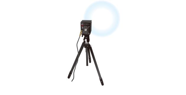 専用投光レンズを使用して希望の範囲に照射。