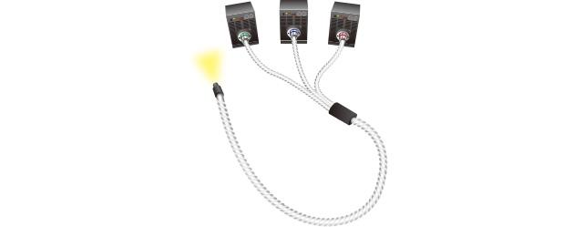 3台のLED光源と多分岐ライトガイドを使用して