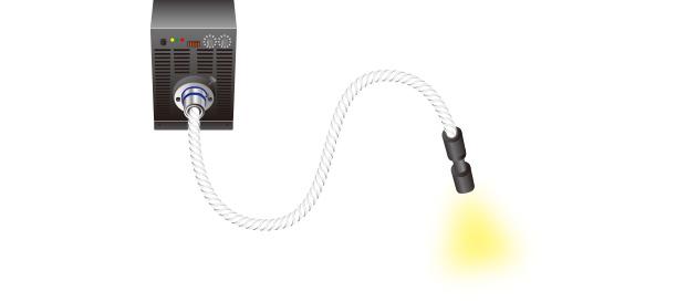 ストレートライトガイドの先端に集光レンズを取り付けて、希望の場所での照射が可能。